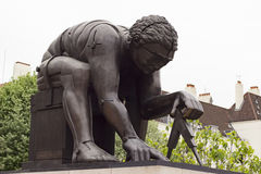 Sculpture of Isaac Newton in London. London, England - May 19, 2016: Sculpture of Isaac Newton by Eduardo Paolozzi in the British Library in London, England Royalty Free Stock Images