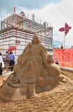 Sculpture Jésus en sable la nuit blancs festival Photographie stock libre de droits