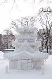 Sculpture of a japanese temple (Shinto), Sapporo Snow Festival 2013 Stock Photo