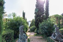 Sculpture in Jardines de Santa Clotilde. Lloret de Mar, Costa Brava, Catalonia, Spain september 2017.  royalty free stock images