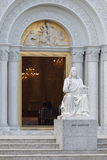 The Sculpture of JESU MAGISTER in front of The Catholic Church Royalty Free Stock Images