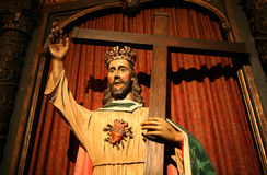 Sculpture of Jesus with cross Royalty Free Stock Photos
