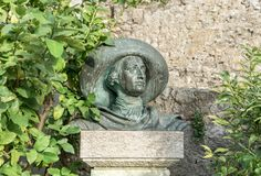 Sculpture of Johann Wolfgang Goethe. In Malcesine in Italy royalty free stock image