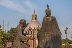 Sculpture of Juan Diego and Fray Juan de Zumarraga. VILLA OF GUADALUPE, MEXICO CITY, DECEMBER 02, 2017. Detail of a sculpture of Juan Diego and Fray Juan de royalty free stock image