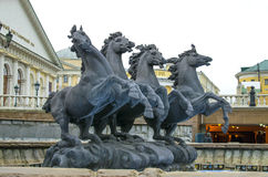 Sculpture of the jumping horses in Aleksandrovsk to a garden Royalty Free Stock Photo