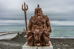 Sculpture of king Neptune. On the seafront of the city of Sochi Stock Images