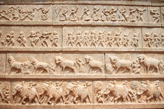 Sculpture of king`s army in layers, Hampi Stock Photos