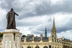 Sculpture of king Stanislas on the central square of Nancy. France stock photos