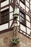 Sculpture of a knight on the facade of a house in Nuremberg, Bavaria, Royalty Free Stock Images