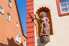 Sculpture of a knight on a house in Rottweil Royalty Free Stock Photos