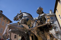Sculpture of a knight in steel. Views of the city of Briancon Stock Photo
