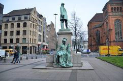 Sculpture at konigsalle !!!. Beautiful city in Dusseldorf Royalty Free Stock Photos