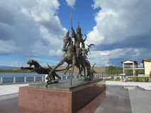Sculpture in Kyzyl stock image