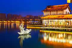 The sculpture and lake_night_landscape_xian Royalty Free Stock Image