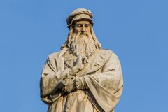 Sculpture of Leonardo Da Vinci Stock Image