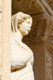 Sculpture in Library of Celsus Stock Images