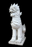 Sculpture of lion asian style on black Royalty Free Stock Images