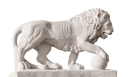 Sculpture of the lion with ball Stock Images