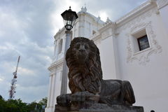 Sculpture of a lion at the Cathedral of Leon, an UNESCO Heritage Centre in Nicaragua. Basílica Catedral de la Asunción de León, most known as Cathedral royalty free stock images