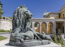 Sculpture of a lion with the defeated roe Royalty Free Stock Image