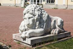 Sculpture of a lion in the estate of Mar - the estate of count Stroganoff in the Leningrad region. Russia stock photos