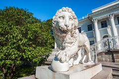 Sculpture of lion in front of Yelagin Palace, St Petersburg, Russia Royalty Free Stock Images