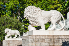Sculpture of lion in front of Yelagin Palace, St Petersburg, Russia Stock Images