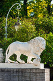 Sculpture of lion in front of Yelagin Palace, St Petersburg, Russia Stock Photo