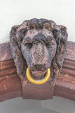 Sculpture of a lion with golden ring in the downtown of Leipzig, Stock Photo