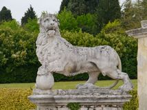 Sculpture of a lion in the graden of the villa Maser Stock Images