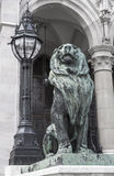 Sculpture of a lion and the large lamp Royalty Free Stock Image