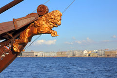 Sculpture of lion on ship in St. Petersburg Royalty Free Stock Photo