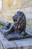 Sculpture of Lion before the underground lake Proval in Pyatigor Stock Photo