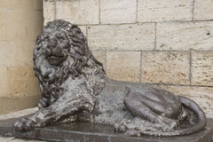 Sculpture of Lion before the underground lake Proval in Pyatigor Royalty Free Stock Photography