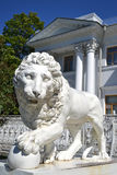 Sculpture of the lion at the Yelagin palace Royalty Free Stock Photos
