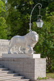 Sculpture of a lion of Yelagin Stock Photo