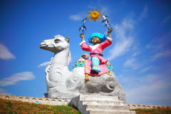 Sculpture Little caravan master, Kazakhstan Stock Photography