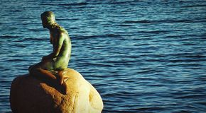 The sculpture of the little mermaid royalty free stock photo