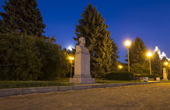 Sculpture Lomonosov near the Main Building Of Moscow State University On Sparrow Hills at Night, Russia Royalty Free Stock Photography