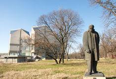 Sculpture of a lonely man in front of Museum of Contemporary Art in Belgrade Stock Photography