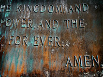 Sculpture of Lord's Prayer Royalty Free Stock Photo