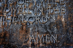 Sculpture of the Lord's Prayer Psalm 23 Royalty Free Stock Images