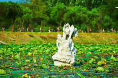 The sculpture in the lotus pool Stock Photo