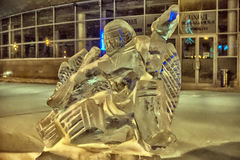 Sculpture made of ice hockey Stock Photos