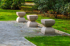 Sculpture made by Romanian artist Constantin Brancusi. In a autumn day Stock Images