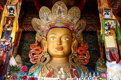 Sculpture of Maitreya buddha at Thiksey Monastery Stock Image
