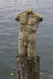 Sculpture of a male torso. Standing on a wooden pedestal in the lake Royalty Free Stock Images