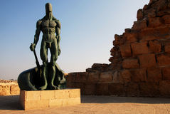 Sculpture of man at Caesarea Israel Royalty Free Stock Images