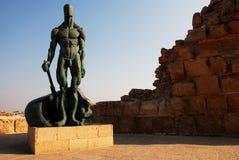 Sculpture of man at Caesarea Israel Royalty Free Stock Images
