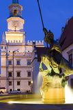 Sculpture of Mars on the Old Market Square in Poznan Stock Image